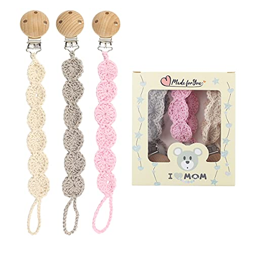I LOVE MOM 3pcs Cadena Chupete Bebe Chupetero Tela, Cadena para Chupete Trenzada, Porta Chupetes Bebe de Ganchillo, Ideal Productos Bebe Recien Nacido, para Chupete Personalizado(Rosa)