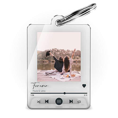 Schlüsselanhänger mit Foto im Song Cover Design | Schöne Geschenkidee zum Valentinstag Freunde Partner Familie | Anhänger mit Namen, Song Titel oder Widmung