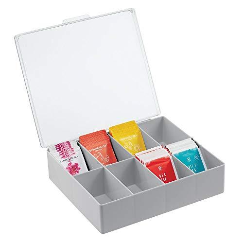 mDesign Küchen Organizer –praktischer Kasten mit Deckel fürKücheund Speisekammer– Aufbewahrungsbox mit8 Fächern– ideal für Tee, Kaffee, Gewürze und andere Lebensmittel –grau