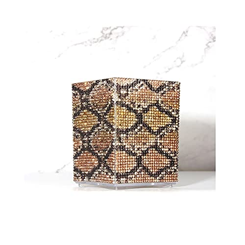 Porta Brochas De Maquillaje Big Leopard Diamond Nail Gel Titular de la pluma Cristal Rhinestone Maquillaje Cepillo Conjunto Maquillaje Pinceles Lápiz labial Organizador Contenedor Copa Soporte Brochas