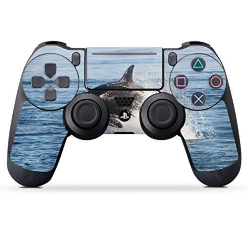 DeinDesign Skin kompatibel mit Sony Playstation 4 PS4 Slim Controller Folie Sticker Orca Wal Meer
