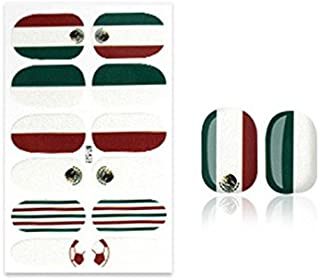 Portable Full Cover Nail Art Tips Papers Pre Design Press National Flags Pattern Nail Stickers(Mexico) Nail Decoration