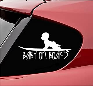 Baby on board with baby on surf board Vinyl Decal Sticker (White)