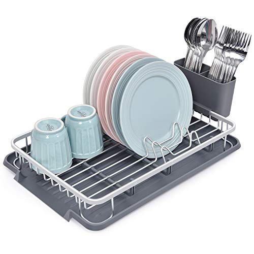 Kingrack Dish Drying Rack,Aluminum Dish Drainers with Removable Draining Board,Compact Dish Rack Plate Rack with Cutlery Holder for Kitchen Countertop WK112055