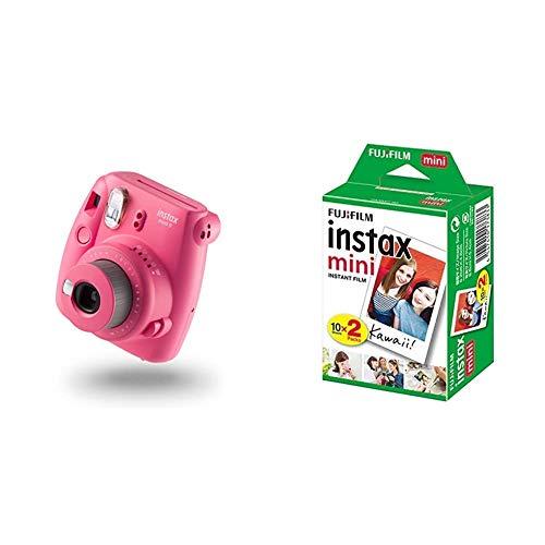 Fujifilm Instax Mini 9 - Cámara instantánea con películas, Rosa Flamenco + m Instax Mini Brillo - Película fotográfica instantánea (2 x 10 Hojas)