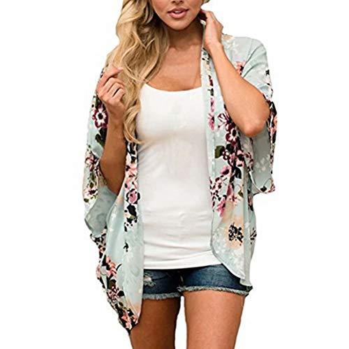 EUFANCE Mujeres Chiffon Loose Shawl - Chiffon Floral Print Kimono Cardigan Cover Up, Summer Casual Blusa Beach Swimwear