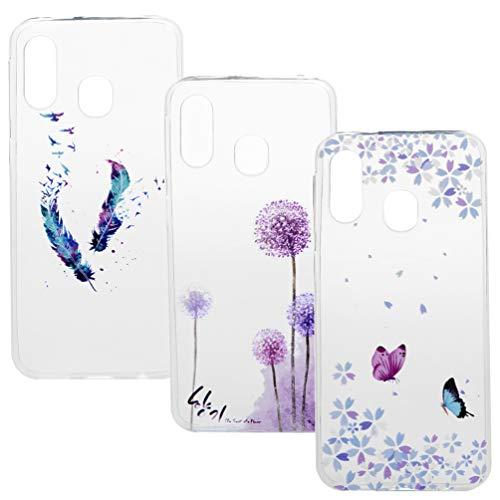 A40 Handyhülle Durchsichtige Handytasche Kompatible für Samsung Galaxy A40 Hülle Silikon Hülle Cover Transparent Tasche Dünn Schutzhülle Malen Muster Mädchen Skin Soft Schale Bumper*3 Silikonhüllen-1