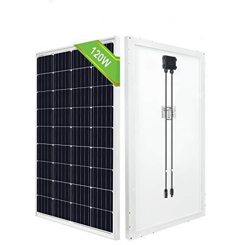 ECO-WORTHY Pannello solare 12V, pannello solare tie-off 120W off, modulo mono ad alta efficienza per camper carica camper rimorchio batteria