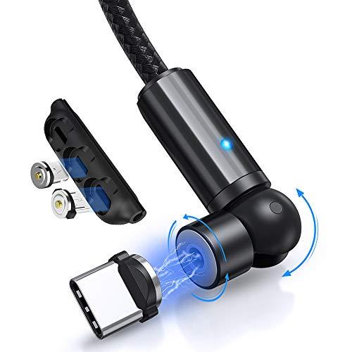 TOPK Câble de Charge Magnétique, Rotatif à 360° et 180° Tresse Nylon Câble USB Magnétique 3-en-1, Compatible avec Micro USB, Type-C et I-Product (Noir, 2m)