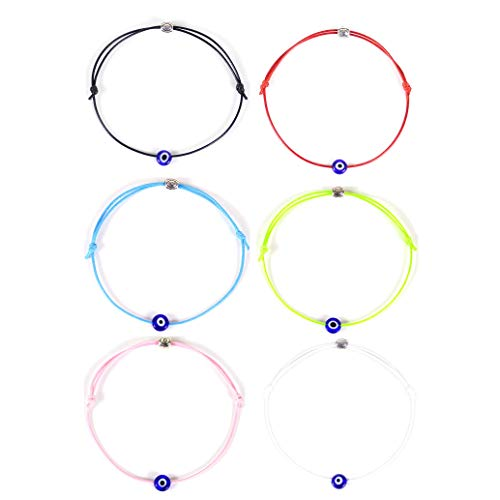 HUNO 6Pcs/Set Evil Eye Ankle Bracelet Lucky Amulet Blue Eye Waterproof String Anklets for Women Girls Kabbalah Protection Jewelry A