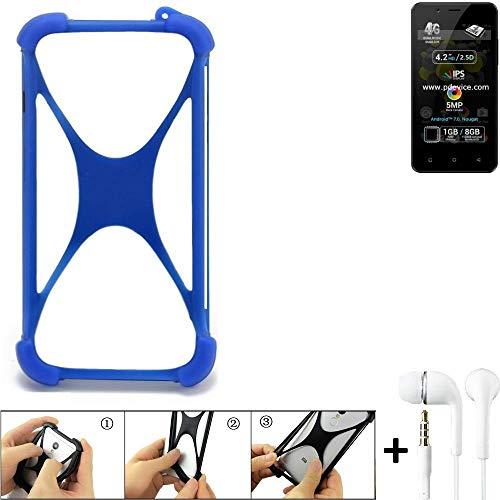 K-S-Trade® Bumper Für Allview P4 Pro Schutzhülle Handyhülle Silikon Schutz Hülle Cover Case Silikoncase Silikonbumper TPU Softcase Smartphone, Blau (1x), Headphones