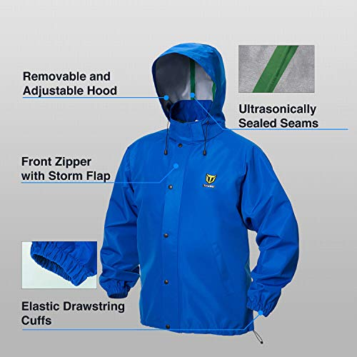 TideWe Rain Suit, Breathable Waterproof Durable Sport Rainwear (Blue Size XXL)