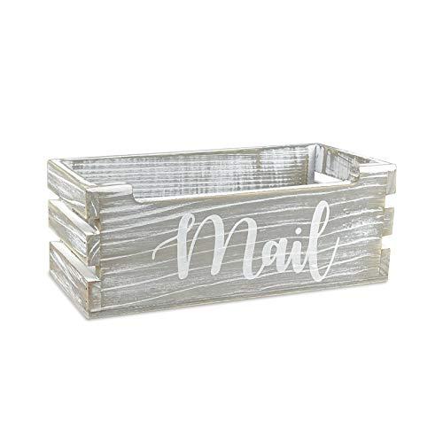 Rustic Wood Tabletop Mail Holder Box, Desktop Mail Organizer, Farmhouse Mail Organizer Countertop, Mail Holder,Letter Holder, Mail Storage Box, Bill Coupon Organizer, Letter Sorter Tray, Grey