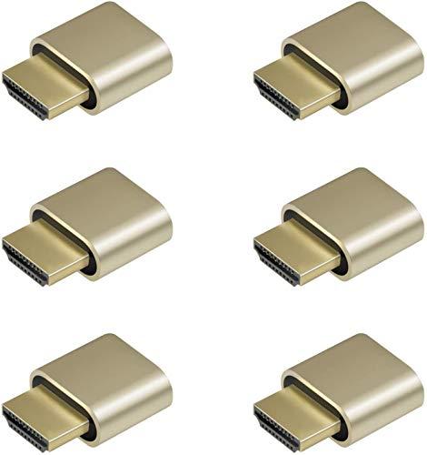 ADWITS 6-Pack 4K 2K 1080P 30Hz bis 60Hz Unterstützung HDMI Display Emulator DDC EDID Headless Ghost Monitor Adapter Dummy Stecker, Höchste 4096x2160 @ 60Hz in Gold Farbe