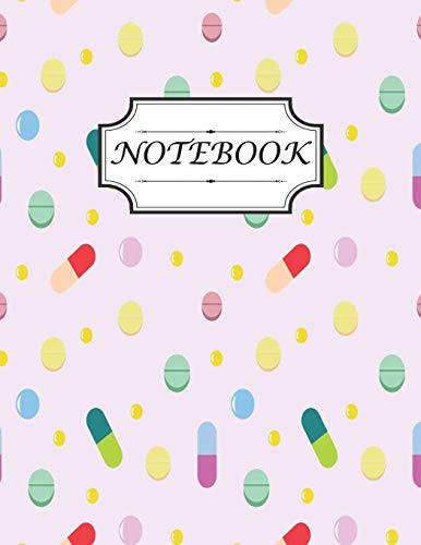 Notebook Pharmacy Technician: College Ruled Notebook  Size 8.5 X 11 inch 120 page Notebook For Kids Design with Seamless Pattern With Tablets, Flat Style