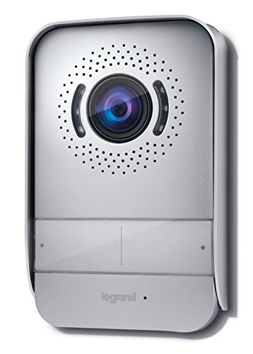 Videoportero Legrand con dos hilos de conexión, monitor a color y cámara con gran angular, Gris, 369330