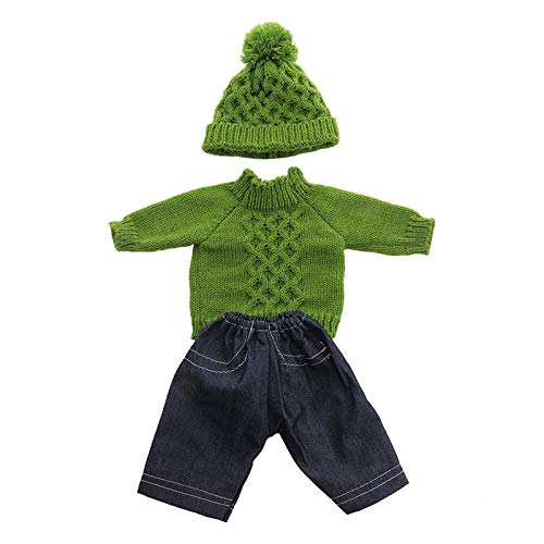 Zeagro Puppenkleidung, Puppenkleidung Kleid Outfit Pullover Winterkleidung Set für 18 Zoll American Girl Puppe Geschenk-Grün