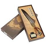 Juego de pluma estilográfica vintage, europeismo, plumas de metal, plumas de caligrafía, bolígrafo de regalo, 6 colores (gris)