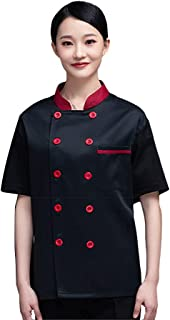 Sentao Professional Chef Jacket, Buttons Design, Chef Jacket, Short Sleeve, Unisex, White & Black & Red Available, Sizes M...