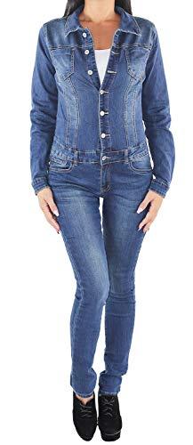 Sotala Damen Overall Jumpsuit Skinny Röhren Röhrenjeans Slim Fit Stretch Hüft Jeans Hose Langarm Denim Hosenanzug Jeansoverall Einteiler Jeansanzug Blau B 36 (S)