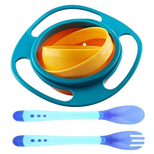 Baby Schüssel- WENTS Universal Gyro Bowl Kinder dreht sich des Kreisels 360 Drehen Schüssel mit Deckel and Wärmeempfindliche Baby Sicherheitslöffel Gabel