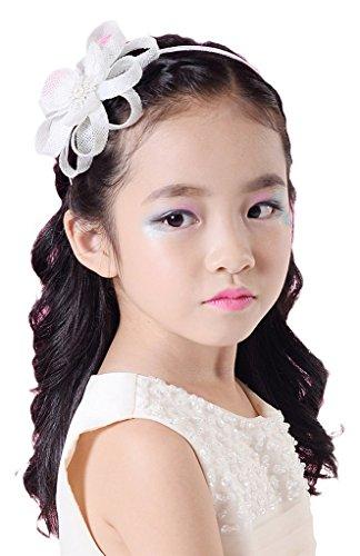 EOZY Serre-Tête Baptême Fille Bandeau en Strasse Fleur Bande Accessoire De Cheveux Cérémonie Blanc