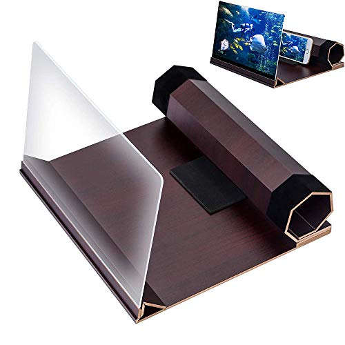 3D Screen Smartphone Amplifier, 12' Foldable Smart Phone Screen Amplifier Enlarger, HD Stereoscopic Screen Amplifier, with Wood Grain Stand Holder, for Movies,Videos, Gaming and All Smart Phones