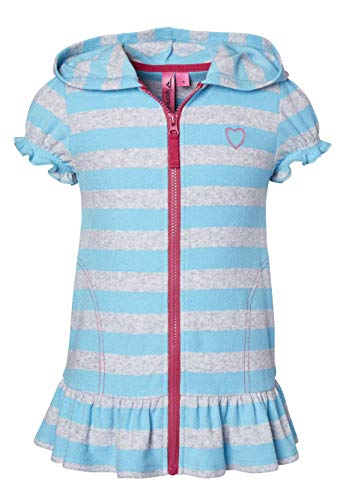 Beach Coverups for Girls Swimsuit Cover Up Cotton Terry Hood Swim Robe Swimwear - Turquoise Stripe (Size 10/12)