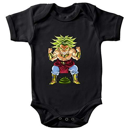 Body bébé manches courtes Noir parodie Dragon Ball Z - DBZ - Broly le guerrier millénaire - Super Caca Vol.3 - le Caca Millénaire(Body bébé de qualité supérieure de taille 3 mois - imprimé en France