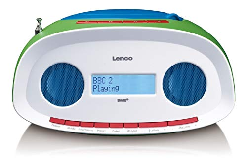 Lenco digitale radio SCD-70 DAB kinderradio met CD-speler en USB, werkt op batterijen (DAB, DAB+, FM-tuner, RDS, MP3-weergave, hoofdtelefoonaansluiting, AUX), kleurrijk