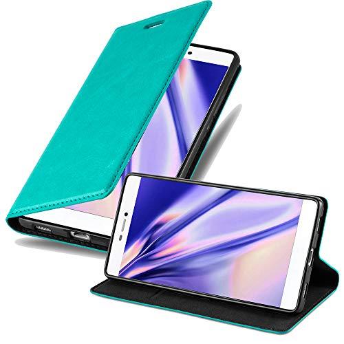 Cadorabo Hülle für Huawei P8 - Hülle in Petrol TÜRKIS – Handyhülle mit Magnetverschluss, Standfunktion und Kartenfach - Case Cover Schutzhülle Etui Tasche Book Klapp Style