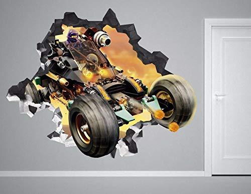 HUJL Pegatinas de pared Etiqueta de la pared del coche ninja destrozada película de vinilo de decoración de etiqueta 3d