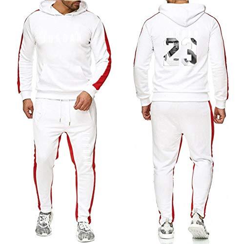 DRBY Jordania # 23 - Chándal para hombre, 2 piezas, para otoño e invierno, sudadera con capucha + pantalones, para correr al aire libre, baloncesto, ropa deportiva blanca-XL