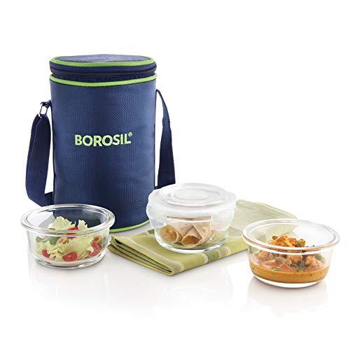 Borosil Klip-N-Store Glass Lunch Box Set, 3-Pieces, 240 ml, Blue