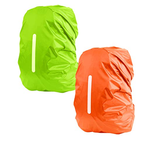 KATOOM 2PCS Funda Protectora para Mochila Cubierta Impermeable a Lluvia Tira Reflectante Seguridad/Viaje al Aire Libre/Aventura/a Prueba de Polvo/Ciclismo/Senderismo/Escuela (Naranja+Verde 45L)