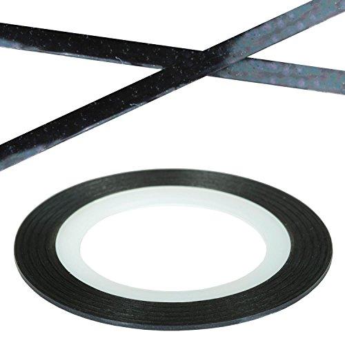 N&BF Nail Art Stripes Nagelsticker Pure Black Schwarz | Zierstreifen Nagelaufkleber | 19m x 1mm Streifen Sticker | Striping Line Tape | Strip Nageltattoos für Nageldesign mit Gel, Acryl & Nagellack