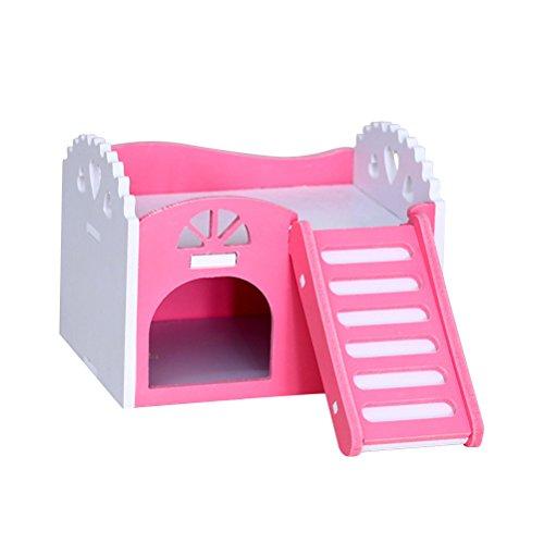 UEETEK Case di legno per criceto piccoli animali Casetta per Roditori (Rosa)
