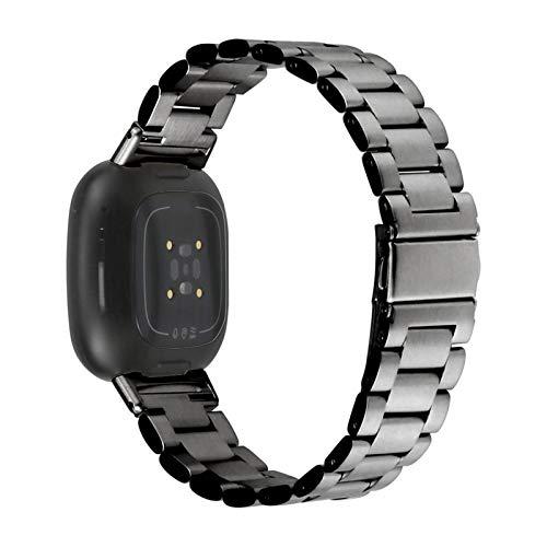 XIALEY Correas De Acero Inoxidable Compatible con Fitbit Versa 3 / Fitbit Sense, Bandas De Repuesto De Metal para Hombres Y Mujeres Compatibles con Versa 3 / Sense,Negro