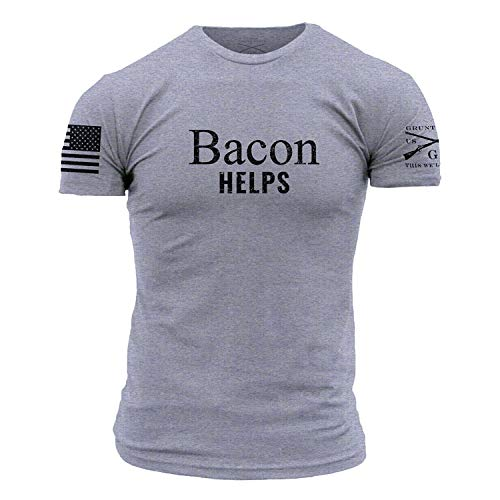 Grunt Style Bacon Helps Men's T-Shirt, Color Heather Grey, Size XX-Large