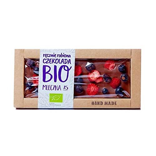 Czekolada mleczna z czarnymi porzeczkami i truskawkami Bio 53 g - Cukiernia Staropolska