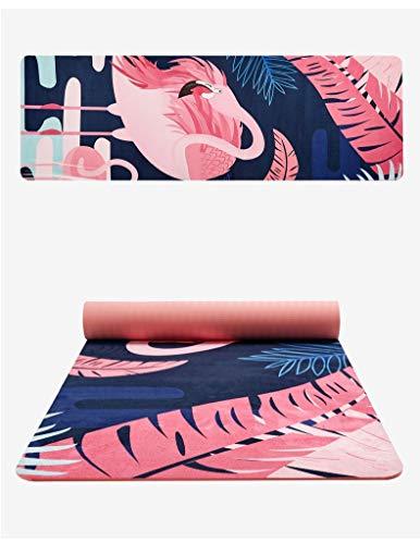 XKMY Esterilla de yoga Pro con estampado de flores, de ante, de 6 mm de grosor, respetuosa con el medio ambiente, antideslizante, para yoga, yoga, pilates, colchón, para fitness, (color: 5)