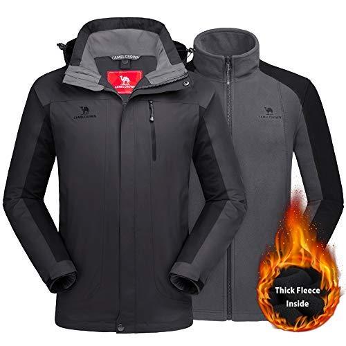 46777a3bcfc6 CAMEL CROWN Men s Ski Jacket 3 in 1 Waterproof Winter Jacket Snow Jacket  Windproof Hooded with
