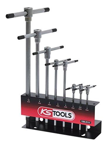 Ks Tools 158.5111 Présentoir De Clés 6 Pans À Poignée En T - 8 Pièces - Kit De Réparation Pratique Et Facile D'Utilisation - Outillage Vissage Pour Bricoleurs Et Professionnels