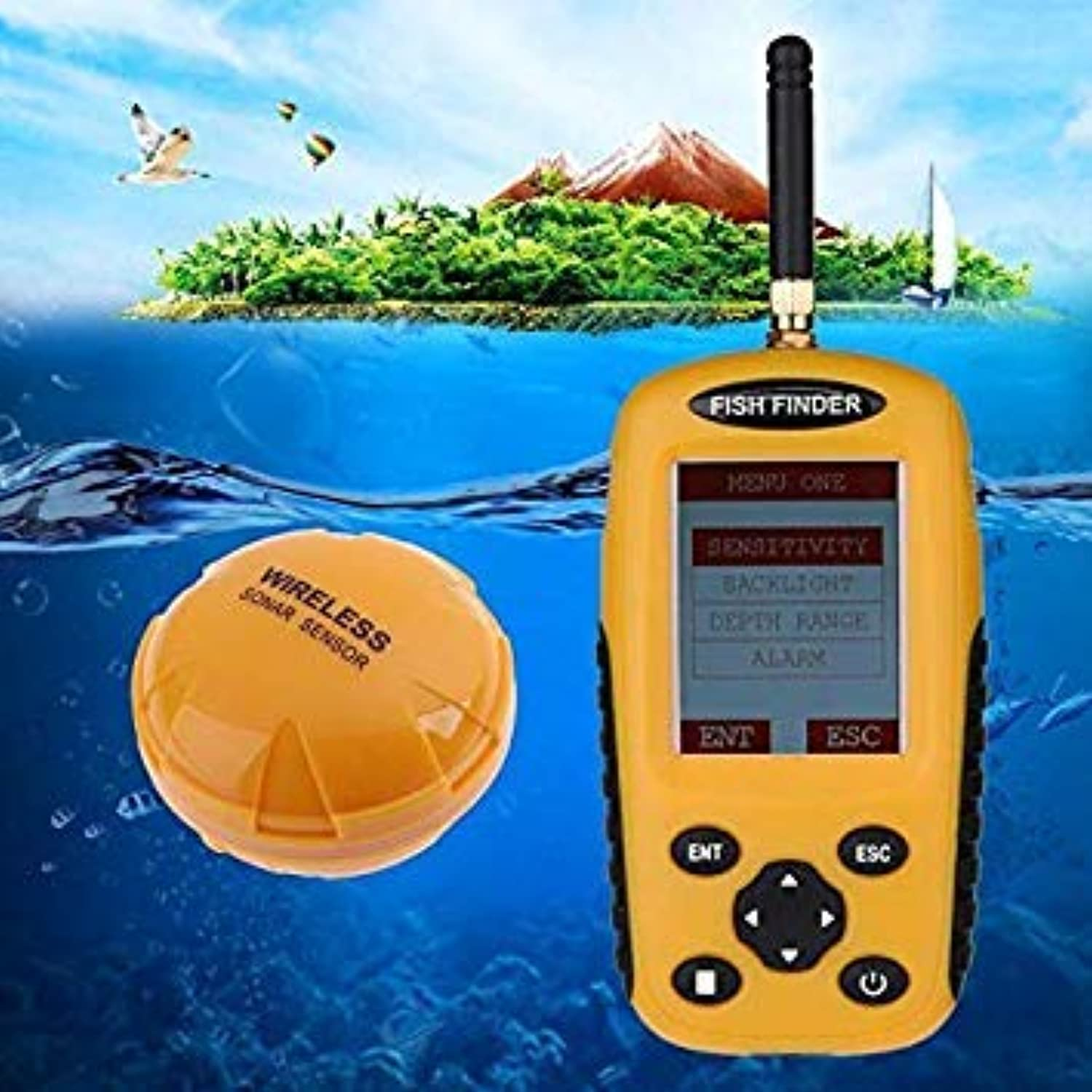 GEOPONICS New 2.4 inch Wireless TFT color Screen Sonar Sensor Wireless Fishing Finder100m Fish Detector withBacklight color Yellow