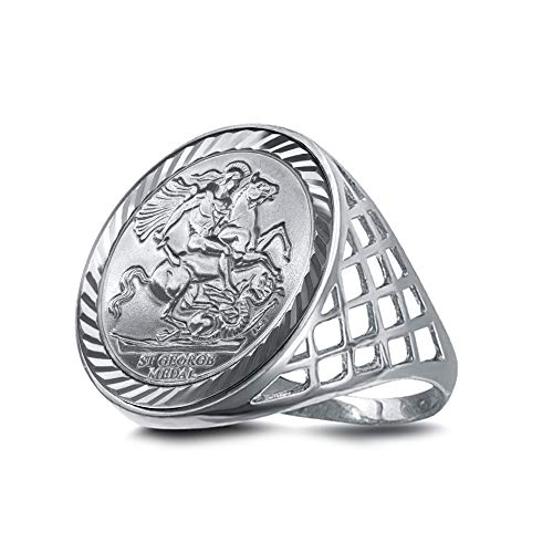Jewelco London Mens Solid Sterling Silver St George Dragon Slayer Basket Full-Sovereign-Size Ring (not a sovereign coin), Size Z