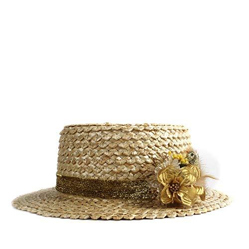 Fashion zonnehoed voor mannen en vrouwen dames platte ronde kop-hoed soort en witte zonnehoed zomer strand-normale lak bloemen veren decoratieve hoed