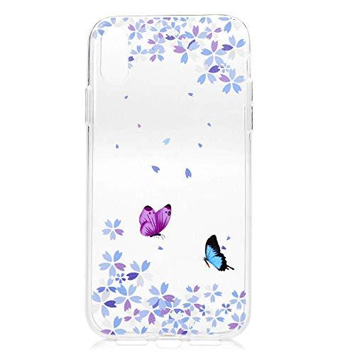 HMTECH Huawei P20 Coque,Huawei P20 Etui Paillette Antichoc Ultra Mince Fleur de Papillon Transparente Flexible Souple Silicone TPU Bumper Case Housse for Huawei P20,Butterfly Flower