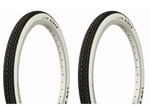 Lowrider Tire Set. 2 Tires. Two Tires Duro 20' x 1.75' Black/White Side Wall Raised Letter Bike Tires, Bicycle Tires, BMX Bike Tires