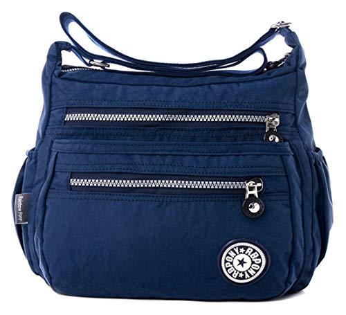 FiveloveTwo Women Multi Pocket Handbags and Purses Nylon Hobo Top-Handle Bags Shoulder Messenger Crossbody Bag Totes Satchels