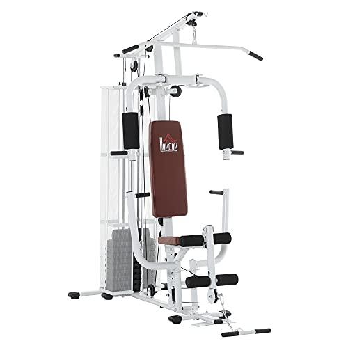 HOMCOM Gym Kraftstation Fitnessstation Multigym Fitnesscenter Fitnessgerät inkl. Gewichten Latzug Beincurl Metall PU-Kunstleder Weiß 150 x 110 x 210 cm